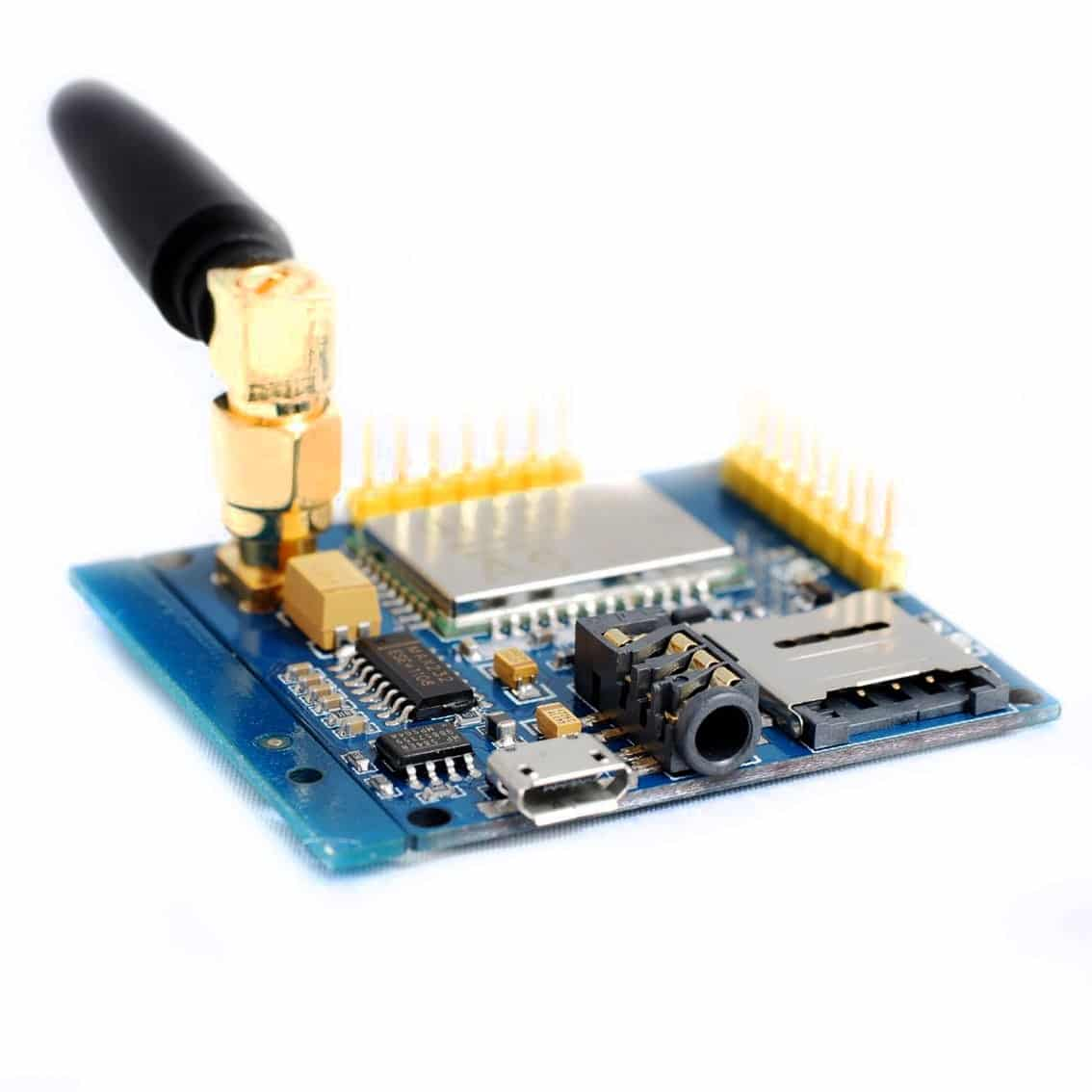 A6 GPRS/GSM Module Board with Antenna and Sim Card Slot Quad Band 850 900  1800 1900 MHz - Phipps Electronics