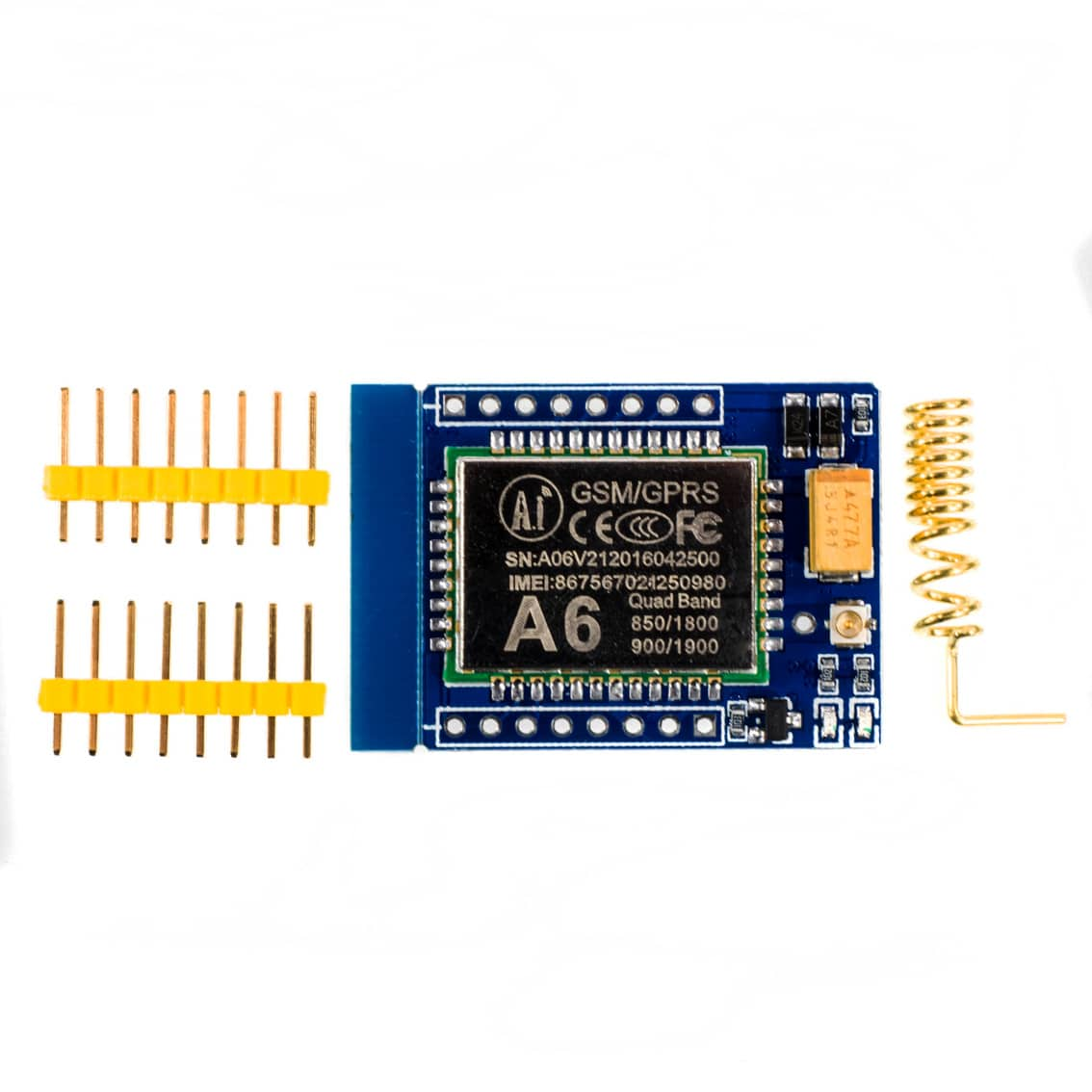 A6 Mini GPRS/GSM Module Board with Antenna and Sim Card Slot Quad Band 850  900 1800 1900 MHz