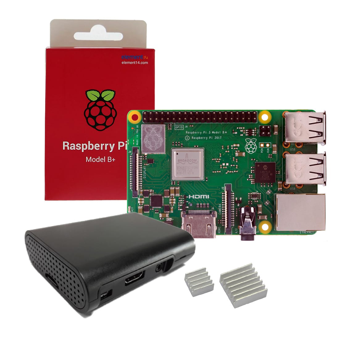 Raspberry Pi 3 Model B+ with Case and Heat Sinks
